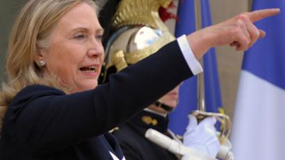 US Secretary of State Hillary Clinton as she leaves the Elysee Palace in Paris (REUTERS/Philippe Wojazer)