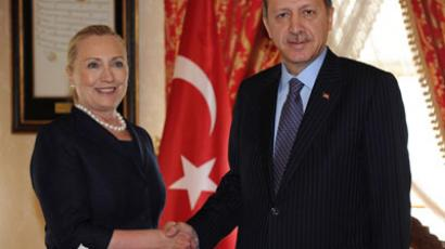 Turkey's Prime Minister Tayyip Erdogan (R) shakes hands with U.S. Secretary of State Hillary Clinton before their meeting in Istanbul.(REUTERS / Handout)