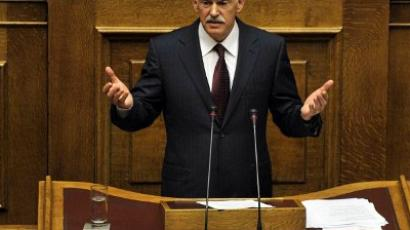 George Papandreou speaks during a debate on the confidence vote at the Greek Parliament, in Athens, on November 4, 2011 (AFP Photo / Louisa Gouliamaki)
