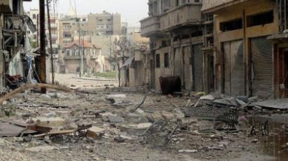 A handout image released by the Syrian opposition's Shaam News Network on July 6, 2012 shows destruction, allegedly caused by shelling by government forces, in the central restive city of Homs. (AFP Photo)