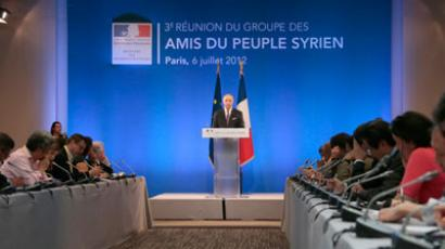 "French Foreign Minister Laurent Fabius gives a press conference after a meeting of the ""Friends of the Syrian People"" at the MFA Conference Center in Paris.(AFP Photo / Jacques Demarthon)"