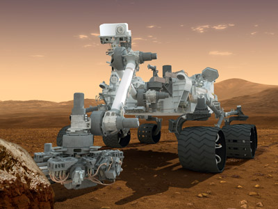 This NASA handout image obtained August 1, 2012 shows an artist's conception of NASA's Mars Science Laboratory Curiosity rover, a mobile robot for investigating Mars' past or present ability to sustain microbial life. (AFP Photo/ NASA/JPL-Caltech/ASU)