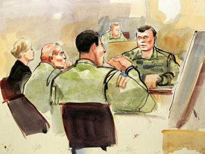 This photograph of a courtroom sketch by artist Lois Silver shows U.S. Army soldier Staff Sgt. Robert Bales, (2nd L) and his defense attorney Emma Scanlan (L) listening to testimony by witness Master Sgt. Clifford Uhrich during the first days of Bales' military Article-32 Investigation, a U.S. Courts Martial pre-trial proceeding, at Joint Base Lewis-McChord in Washington.(Reuters / Anthony Bolante)