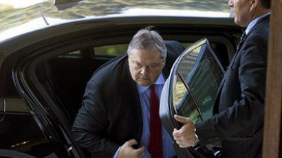 Athens : Former Greek Finance minister Evangelos Venizelos arrives at the Greek President's office in Athens on March 19, 2012. (AFP Photo / Panagiotis Tzamaros)