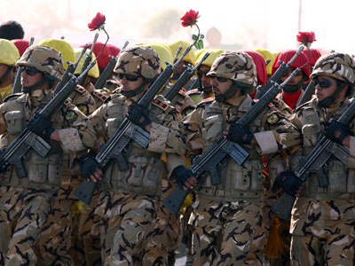 Iranian soldiers march during the Army Day parade in Tehran.(AFP Photo / Atta Kenare)