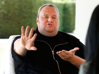 Kim Dotcom gestures as he speaks during an interview with Reuters in Auckland January 19, 2013.(Reuters / Nigel Marple)