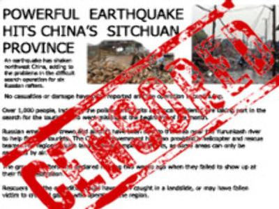Earthquake news not on China's export list