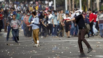 Egyptian protesters clash with security forces on November 29, 2012 in Cairo's Tahrir Square (AFP Photo / Mahmoud Khaled)