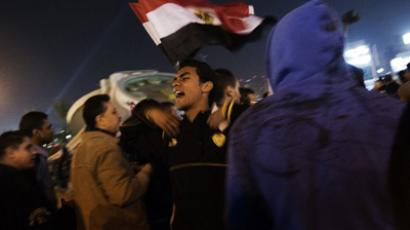 An Egyptian opposition supporter shouts political slogans on December 18, 2012, to demonstrate against President Mohamed Morsi and the draft constitution. (AFP Photo / Gianluigi Guercia)