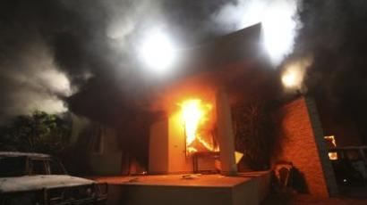 The US Consulate in Benghazi is seen in flames during a protest by an armed group said to have been protesting a film being produced in the United States (REUTERS/Esam Al-Fetori)