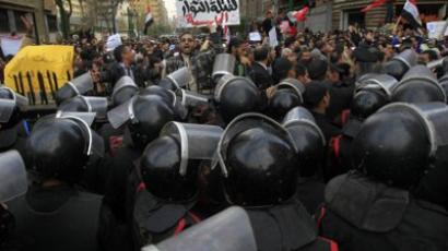 Egyptian protesters chant slogans against the ruling military council and the government outside the Egyptian parliament in Cairo on January 23, 2012 (AFP Photo / MAHMUD HAMS)