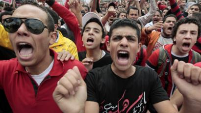 Al Ahli soccer fans take part in a protest against the ruling military council and interior ministry in front of the general prosecutor's office in Cairo. (Reuters / Mohamed Abd El Ghany)