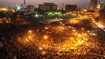 Egyptians protesters attend a demonstration in Cairo's landmark Tahrir Square on June 5, 2012 against verdicts handed down in ex-president Hosni Mubarak's murder trial (Topshots/AFP Photo/Khaled Desouki)