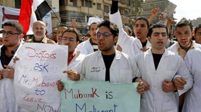 Egyptian doctors and medical students join the anti-government demonstration at Tahrir Square on February 10, 2011 (AFP Photo / Mohammed Abed)