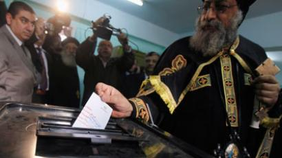 Pope Tawadros II, the new pope of the Coptic Orthodox church casts his vote in a referendum on the new Egyptian constitution, at a polling station in Cairo December 15, 2012.(Reuters / Amr Dalsh)