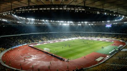 A view shows the Olympic stadium during a local soccer match in Kiev March 4, 2012 (Reuters/Anatoli Stepanov)