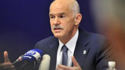 Greek Prime Minister George Papandreou speaks during a press conference held at the end of a Eurozone summit at the Justus Lipsius building, EU headquarters in Brussels, on October 27, 2011 (AFP Photo / Georges Gobet)