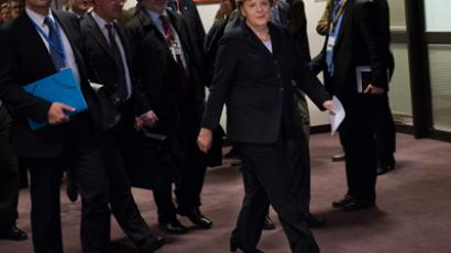German Chancellor Angela Merkel arrives to give a press conference at the EU Headquarters, on November 23, 2012 in Brussels (AFP Photo / Bertrand Langlois)