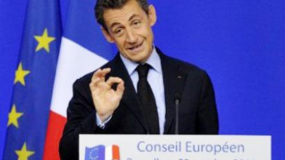 French President Nicolas Sarkozy gestures as he speaks during a joint press conference with German Chancellor as part of the European Council at the Justus Lipsius building, EU headquarters in Brussels on October 23, 2011 (AFP Photo /  Eric Feferberg)