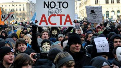 Demonstrators protest against the Anti-Counterfeiting Trade Agreement (ACTA) on February 11, 2012 in Munich, southern Germany (AFP Photo / Sebastian Gabriel / Germany Out)