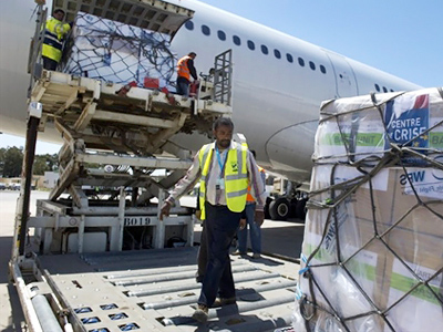 10 tonnes of medical supplies, at the airport, Libya (AFP Photo / Odd Andersen)
