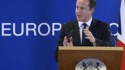 Britain's Prime Minister David Cameron holds a news conference during a European Union leaders summit, in Brussels December 14, 2012. (Reuters/Eric Vidal)