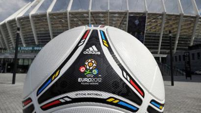 A symbolic ball of EURO-2012 tournament is set in front of Olympic Stadium in Kiev on April 23, 2012 (AFP Photo / Sergey Supinsky)