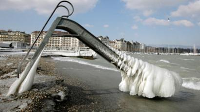 A slide taken by ice is pictured at the Paquis Baths in Geneva (REUTERS/Denis Balibouse)