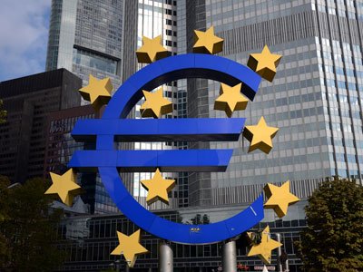 A giant logo of the Euro currency stands in front of the European Central Bank (ECB) in the banking district of Frankfurt, western Germany.(AFP Photo /  Johannes Eisele)