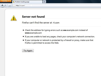 A Server Not Found error message on the Mozilla Firefox Internet browser.