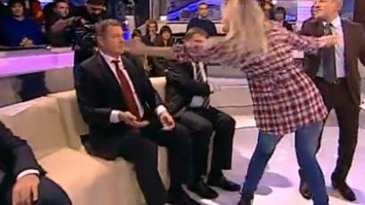 FEMEN activist attacks Ukranian MP during live TV show