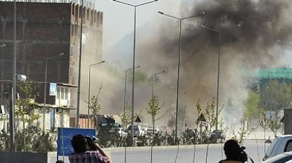 Smoke rises from the site of an attack near the Afghan parliament in Kabul (REUTERS/Handout)