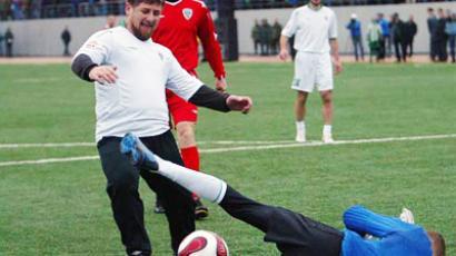 Head of the Chechen Republic Ramzan Kadyrov at a football practice