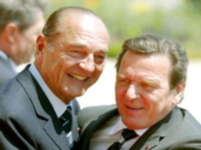 Jacques Chirac (left) and Gerhard Schroeder (right)