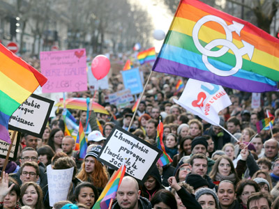 People take part in a demonstration for the legalisation of gay marriage and LGBT (lesbian, gay, bisexual, and transgender) parenting, in Paris on January 27, 2013 (AFP Photo/Thomas Samson)