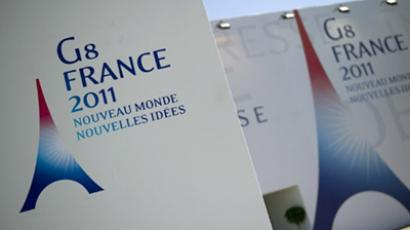 Deauville: G8 logo at the entrance of the international press centre on the eve of the start of the G8 summit in Deauville (AFP Photo / Lionel Bonaventure)