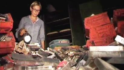 Maria Finoshina inside Gaddafi bunker, grab from RT's video