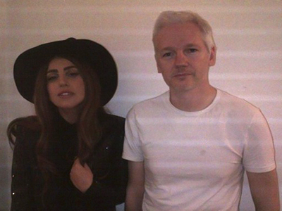 Lady Gaga and Julian Assange posed for this photo which was posted on the pop singer's fansite Twitter feed littlemonsters.com