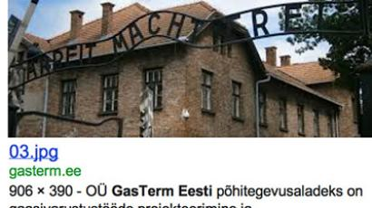 Screen capture of Google Image Search results show an image of the Auschwitz gate assossiated with Gasterm's official website as of August 23, 2012 (Image from Google.com)