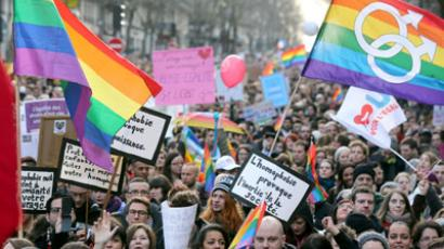 People take part in a demonstration for the legalisation of gay marriage and LGBT (lesbian, gay, bisexual, and transgender) parenting, in Paris on January 27, 2013.(AFP Photo / Thomas Samson)