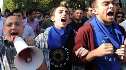 People shout on September 19, 2012 during a protest against torture in prisons, blocking one of the main streets in Tbilisi (AFP Photo / Vano Shlamov)