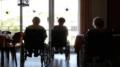 Pensioners sitting in wheelchairs at a residential home for the elderly in Eichenau near Munich (Reuters / Michaela Rehle)