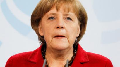 German Chancellor Angela Merkel makes a statement at the Chancellery in Berlin, May 16, 2012 (Reuters/Fabrizio Bensch)