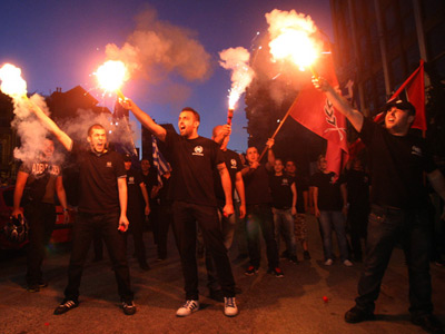 Members of the Greek extreme-right ultra nationalist party Golden Dawn (AFP Photo / Sakis Mitrolidis)