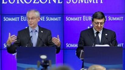 From left, European Council President Herman Van Rompuy and European Commission President Jose Manuel Barroso participate in a media conference after an EU summit of eurogroup members at the EU Council building in Brussels on Thursday, July 21, 2011