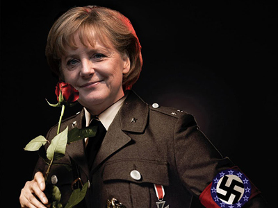 Greeks react to bailout by dressing up Merkel as Nazi