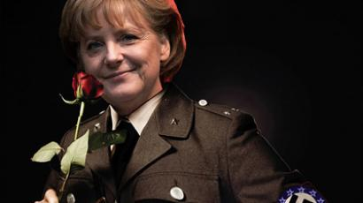 Poster of German Chancellor Angela Merkel in SS guard uniform (picture from greki-gr.blogspot.com)