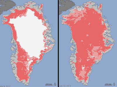 Satellites see unprecedented Greenland ice sheet surface melt (Image: NASA)