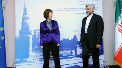 EU foreign policy chief Catherine Ashton (L) and chief Iranian nuclear negotiator Saeed Jalili meet in Moscow, on June 18, 2012 (AFP Photo / EU/ Pool / Kirill Kudryavtsev)