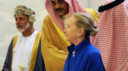 From left to right: Omani Minister of Foreign Affairs Yussef bin Alawi bin Abdullah, Kuwaiti Foreign Minister Sheikh Sabah Khaled al-Hamad Al-Sabah, US Secretary of State Hillary Rodham Clinton and Saudi Foreign Minister Prince Saud Al-Faisal attend a US- Gulf Cooperation Council forum at the Gulf Cooperation Council Secretariat on March 31, 2012 in Riyadh. (AFP Photo / Fayez Nureldine)